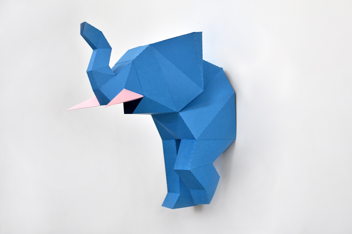 DIY Elephant trophy - 3d papercraft example image 2