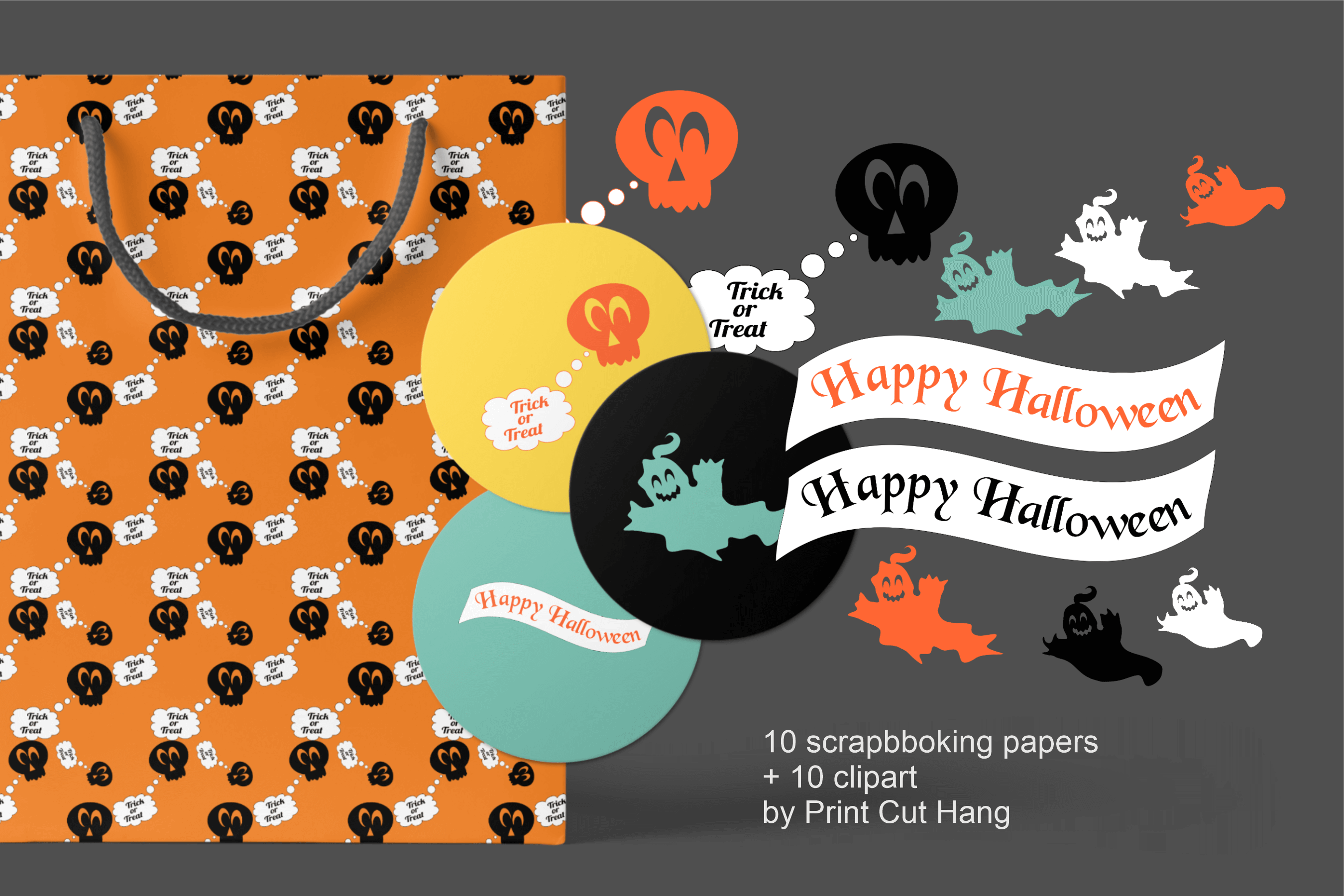 Halloween Clipart and Digital Collage Sheets Set - PNG files example image 2