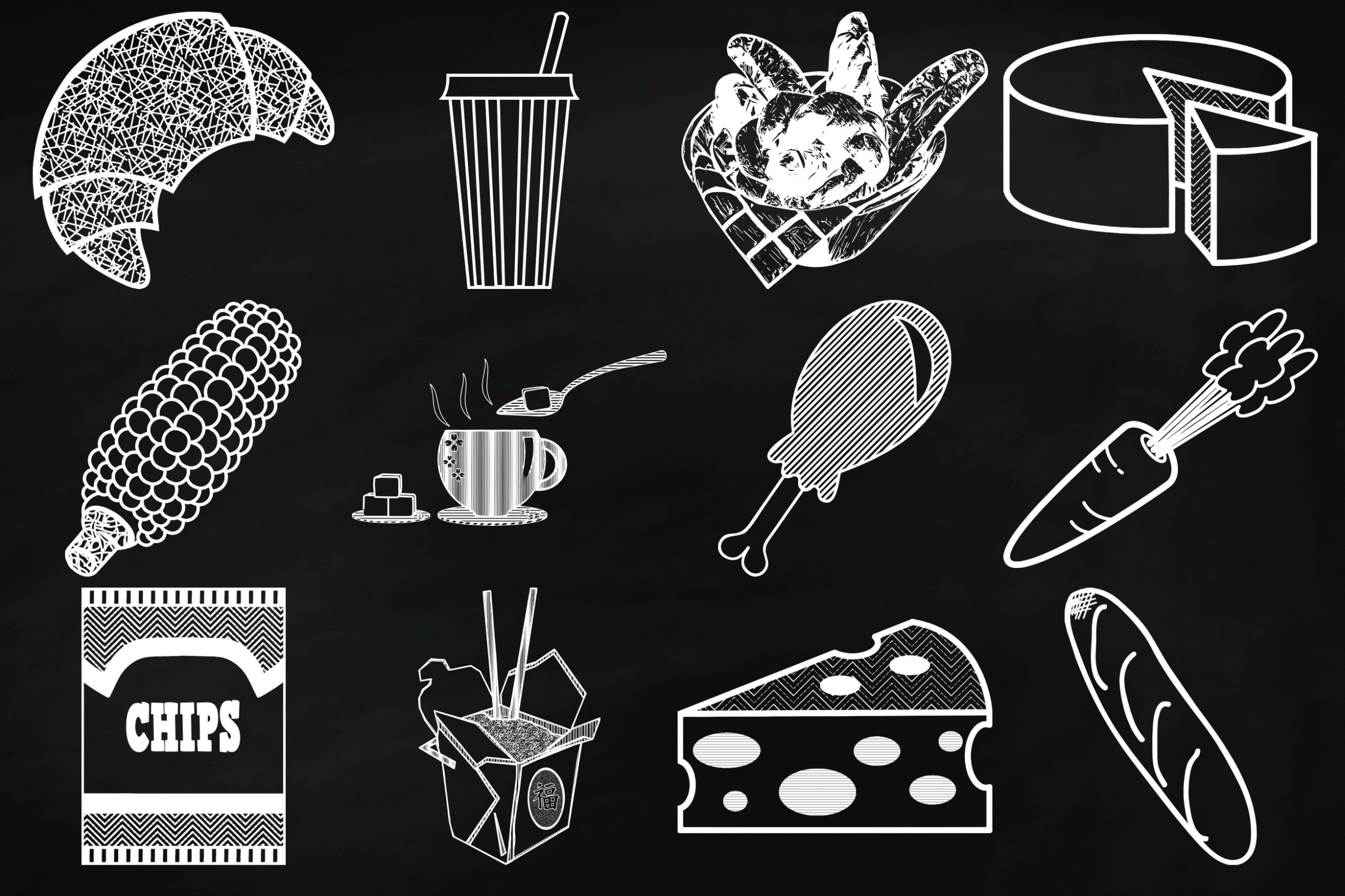 Chalk Savory Food Doodles Clip Art example image 2