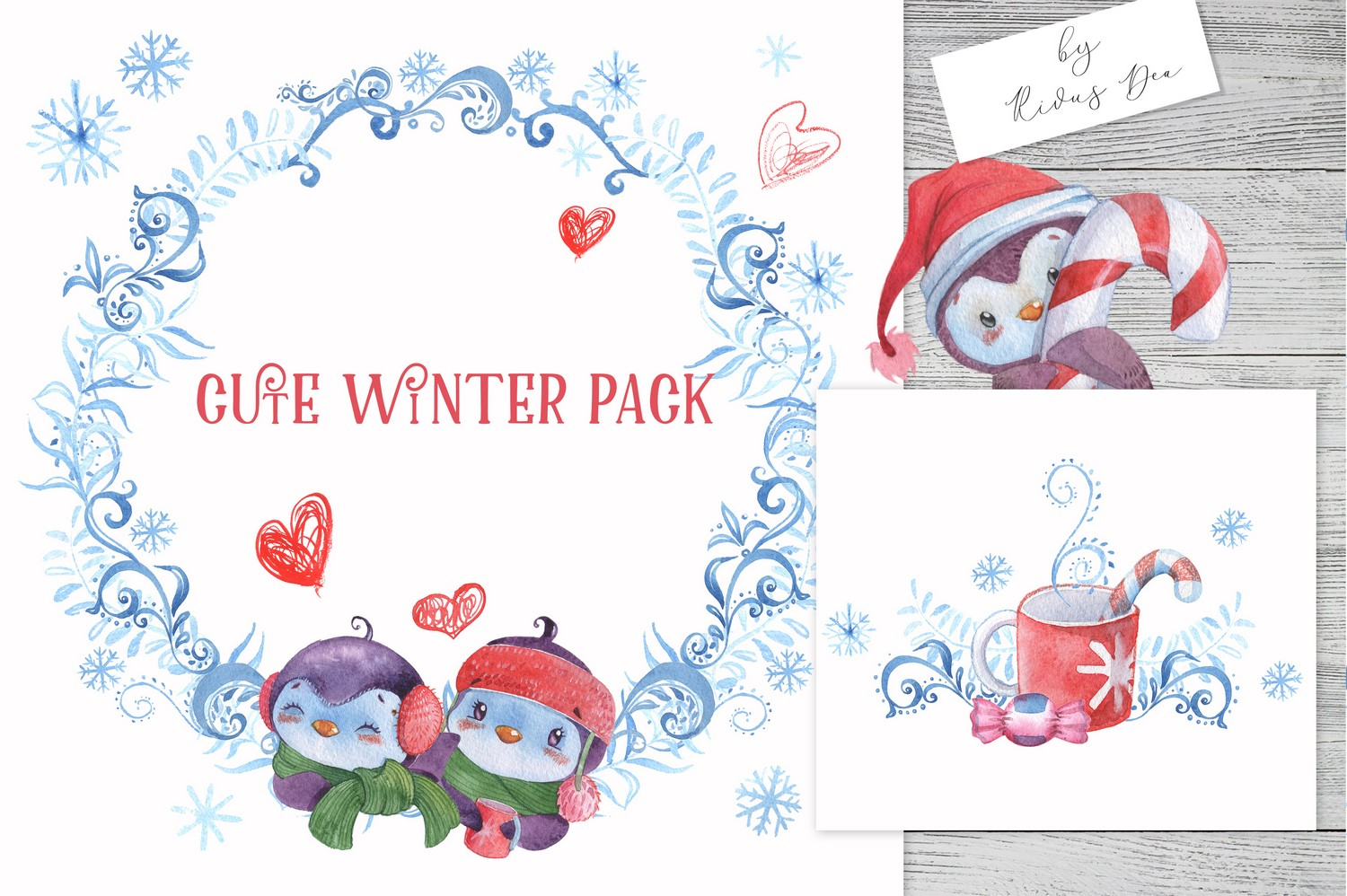 Christmas Penguins Pack CLIPARTS, DIGITAL PAPERS, BORDERS example image 9