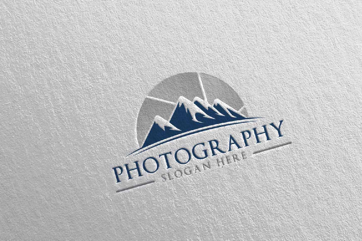 Abstract Mountain Camera Photography Logo 13 example image 4