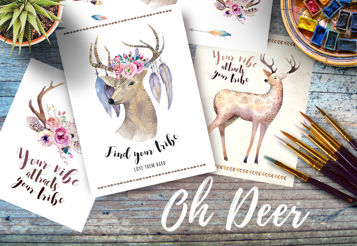 Watercolor deer and horns. Bohemian example image 6