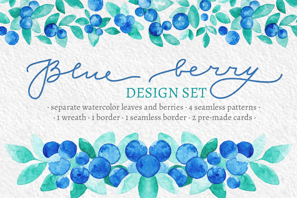 Blue Berries Watercolor Design Set example image 1