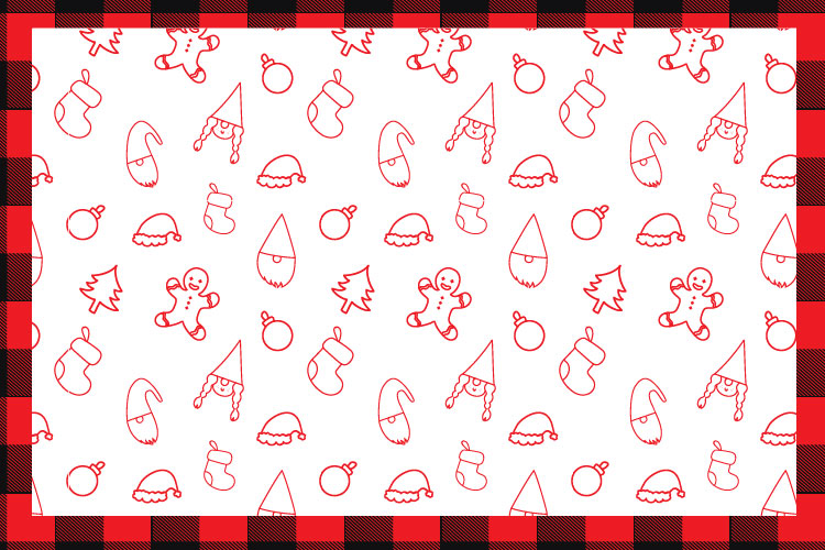 Christmas buffalo plaid font with doodles elements example image 10