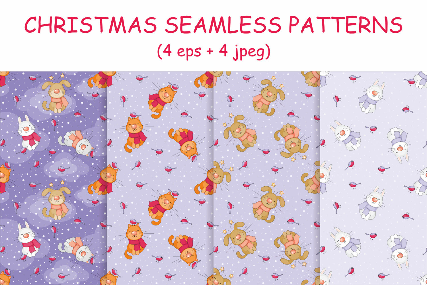 Funny pets. Christmas clip arts and seamless patterns. example image 3