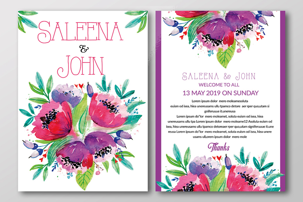 Double Sided Floral Wedding Invites example image 2
