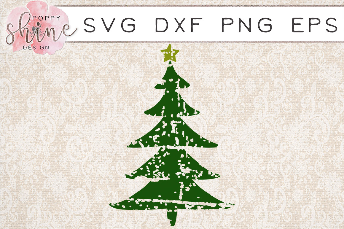 Rustic Distressed Christmas Tree SVG PNG EPS DXF Cutting Files example image 1