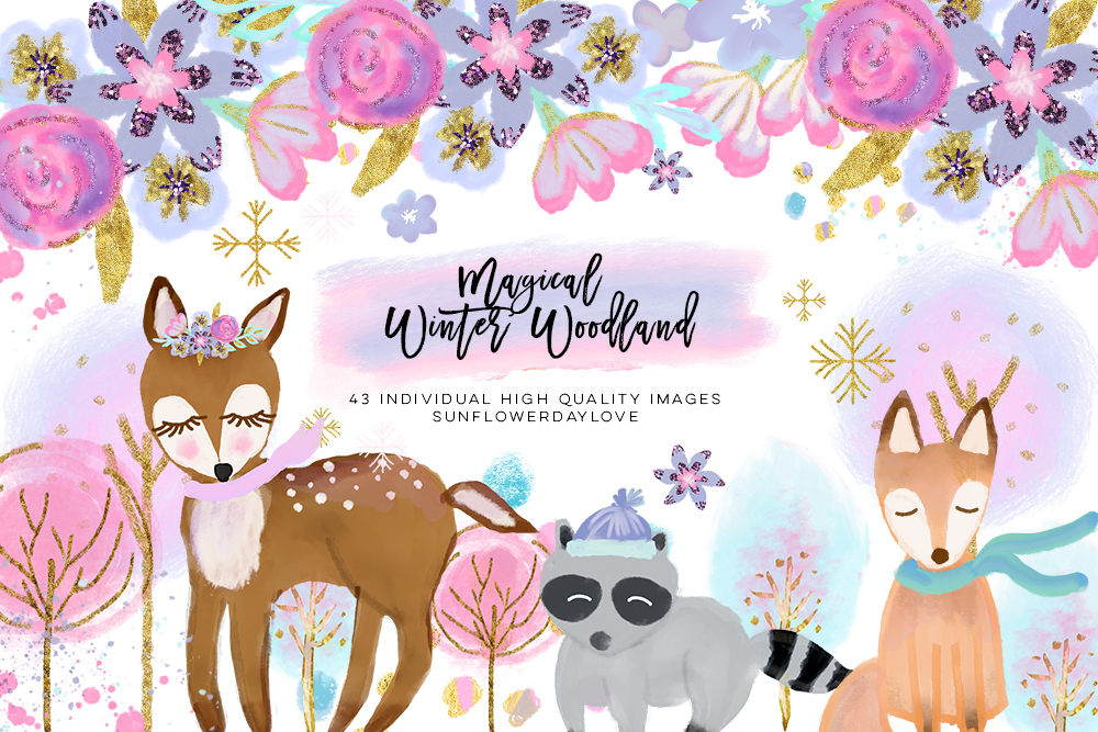 winter woodland clipart, winter forest animal clip art example image 1
