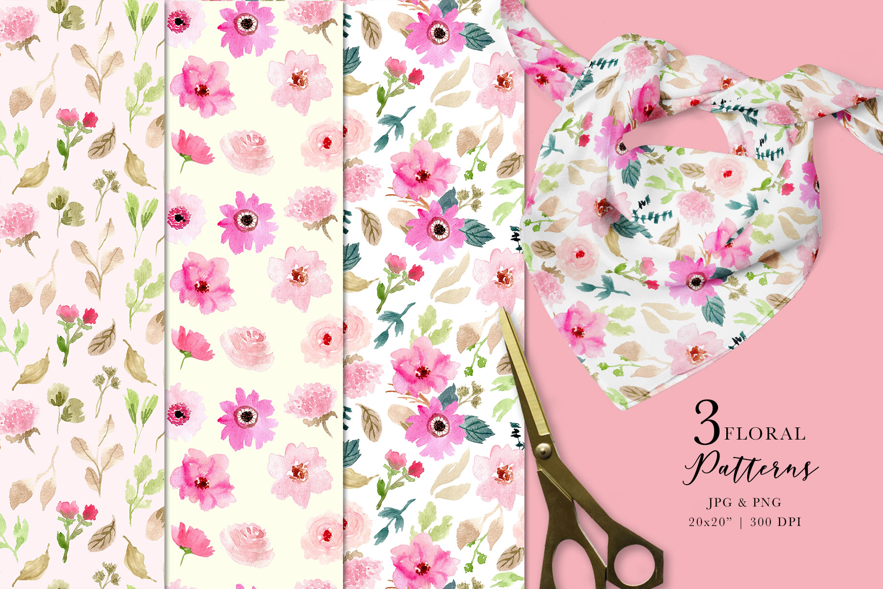 Pink Delight - Watercolor Floral Clipart example image 5