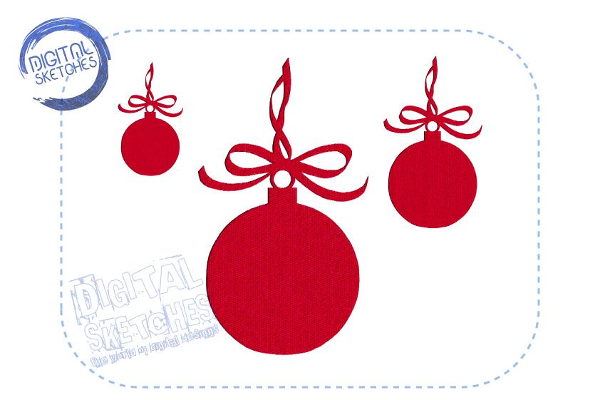 Christmas Bulb Machine Embroidery Design 3 Sizes example image 2