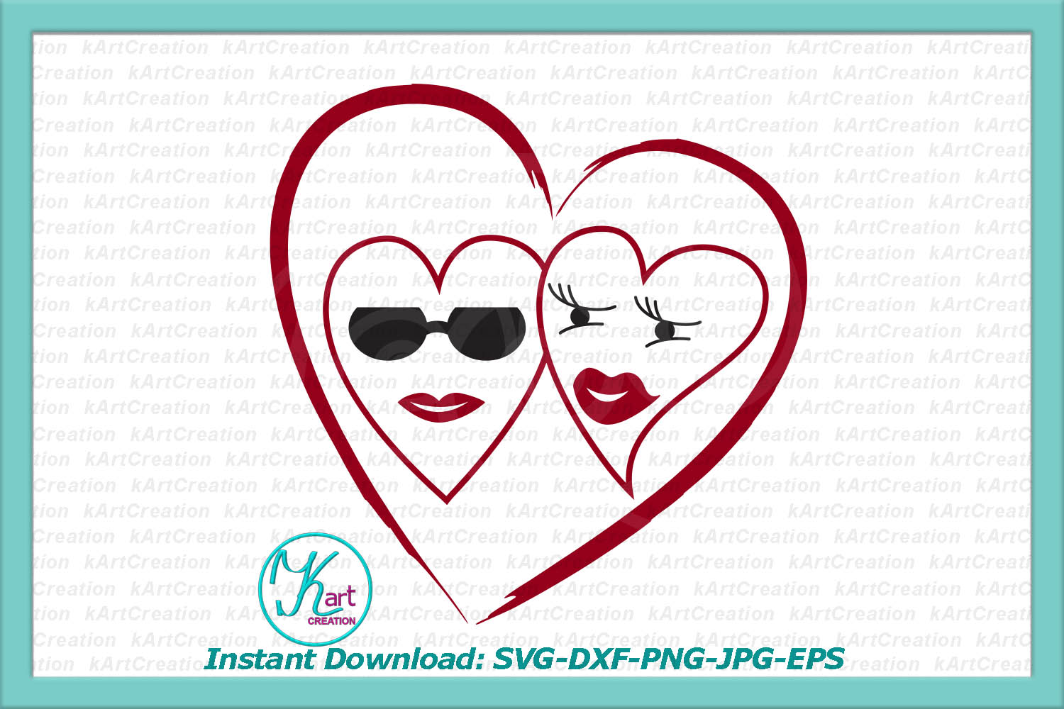 Hippy loving woman man hearts Valentine file svg dxf digital example image 2