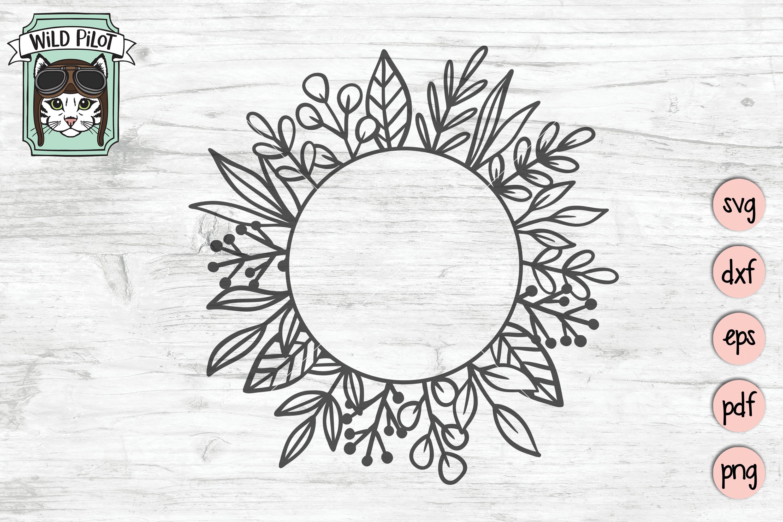 Leaf Monogram Frames, Circle, Square, Split Frame SVG files example image 3