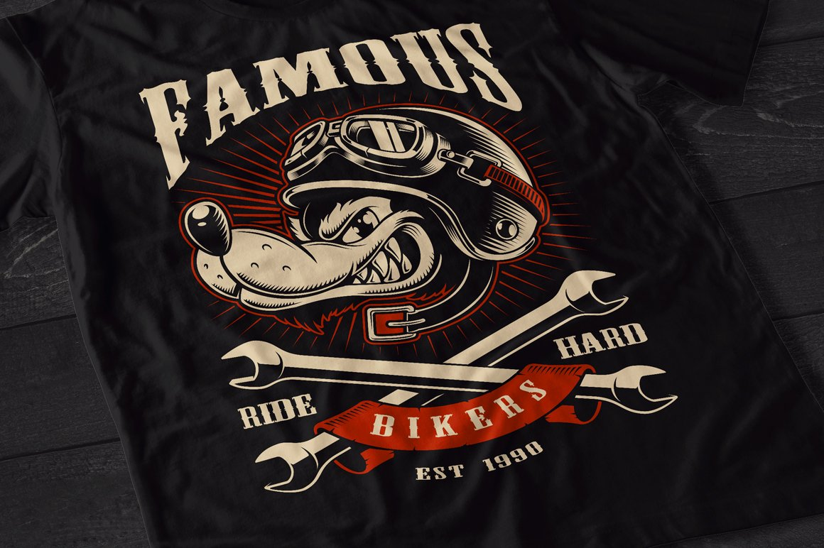 Set of Bikers Shirt Designs. example image 7
