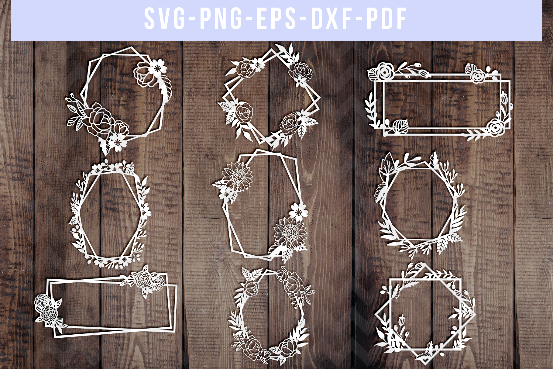Bundle Of 9 Geometric Frame Papercut Templates, SVG, PDF DXF example image 1