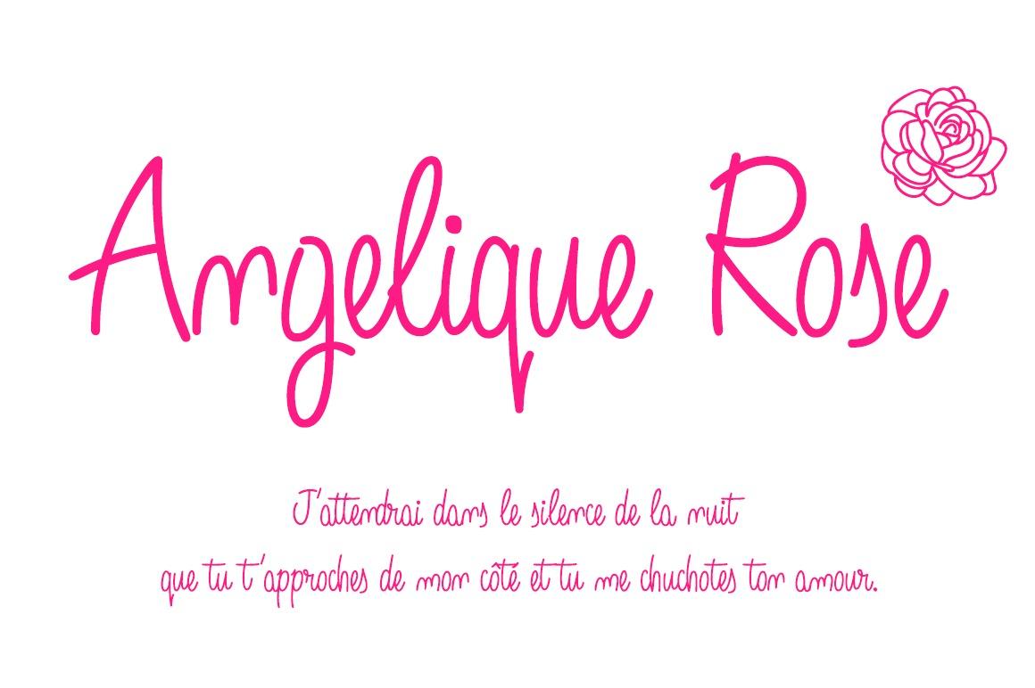 Angelique Rose Script font -pink text-