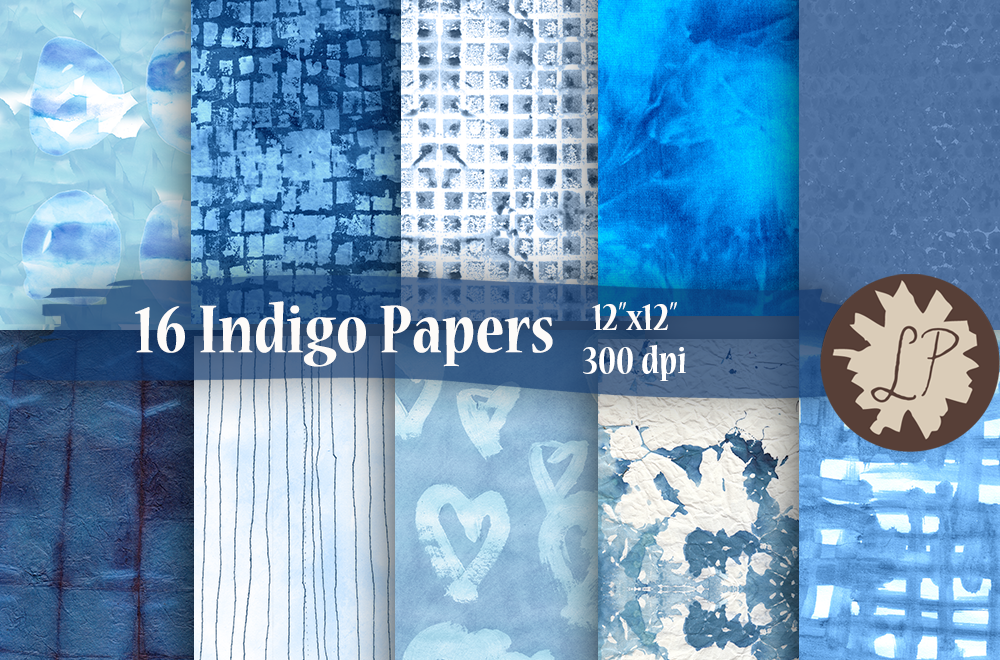 16 Indigo/Shibori Watercolour Papers example image 1