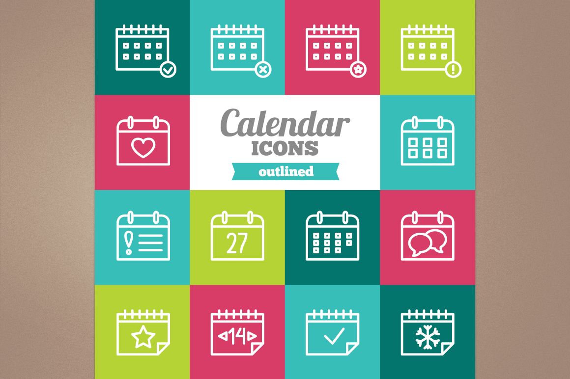 Outlined Calendar Icons example image 1
