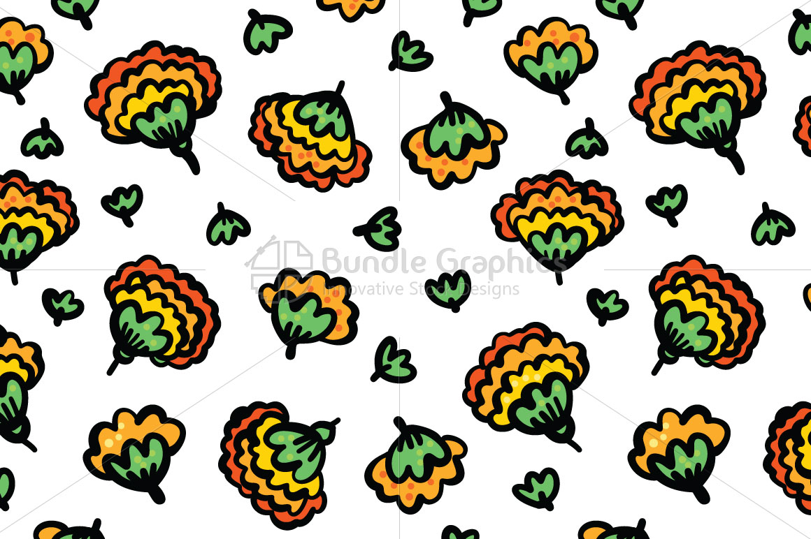 Marigold Flowers - Beautiful Genda Flower Seamless Background example image 2