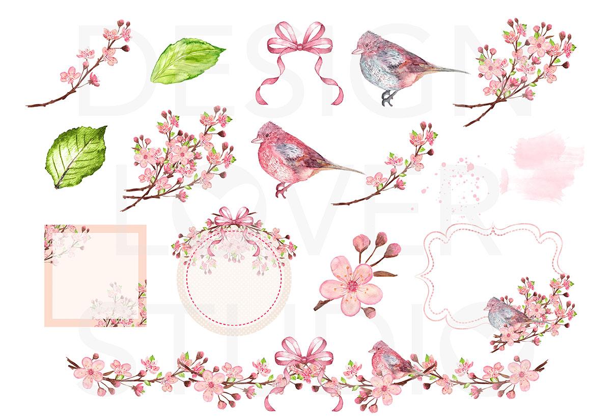 Watercolor Cherry Blossom design example image 2