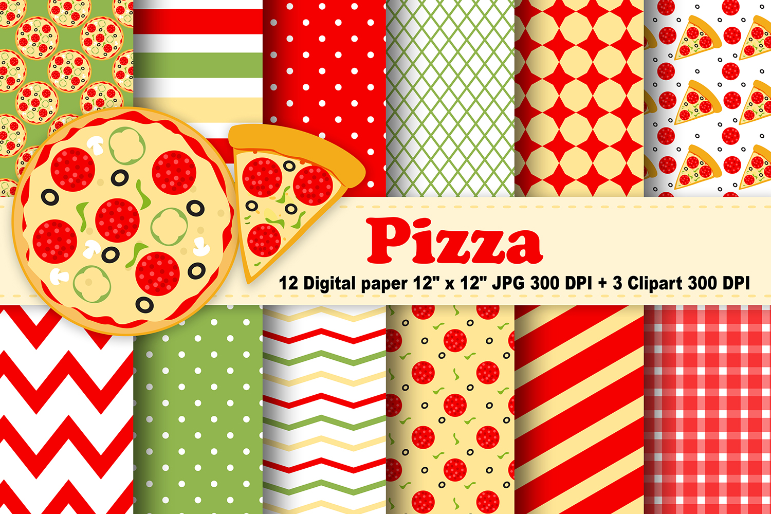 Pizza Digital Paper, Food background, fast food pattern. example image 1