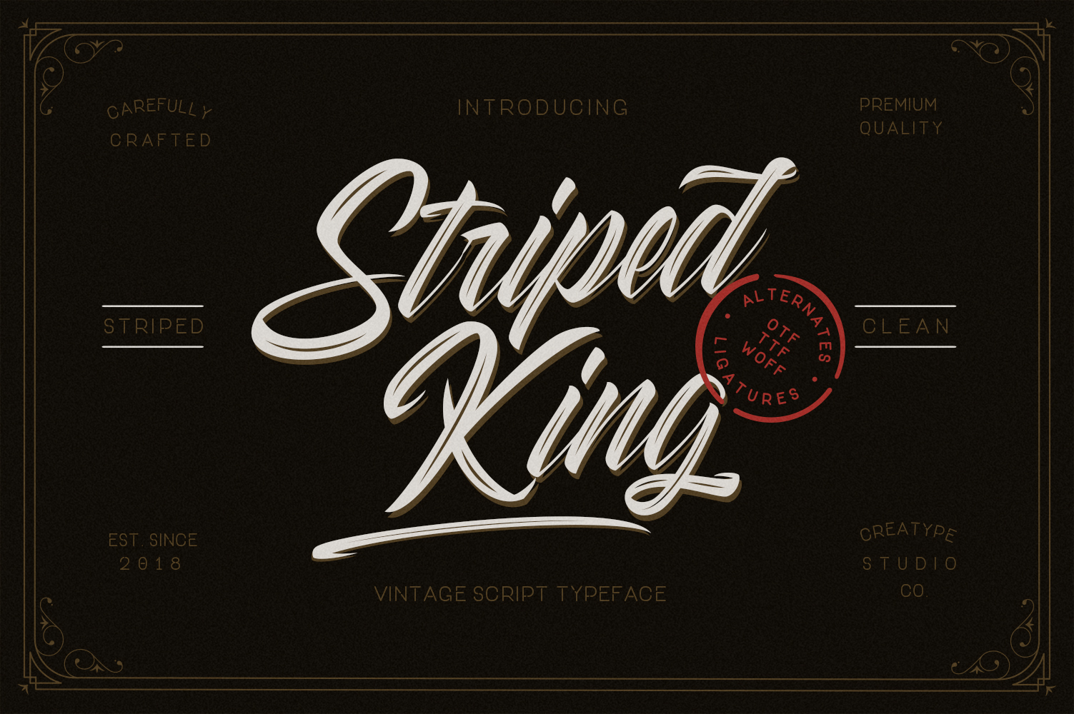Striped King Vintage Script example image 1