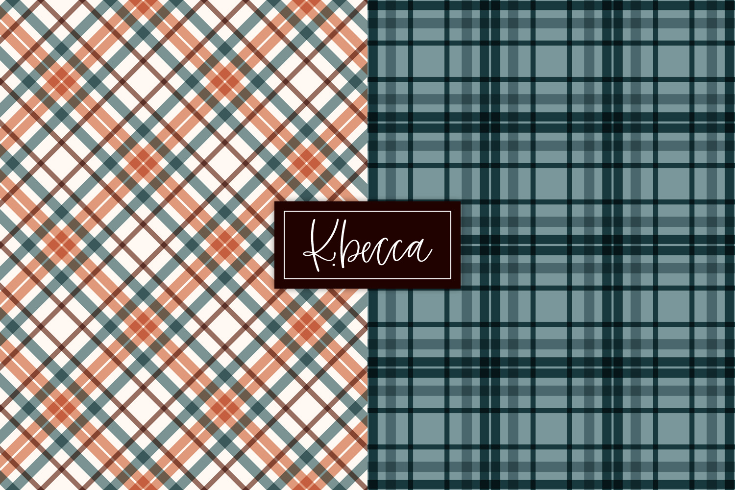 Autumn Fall Plaid Background Patterns Seamless example image 2