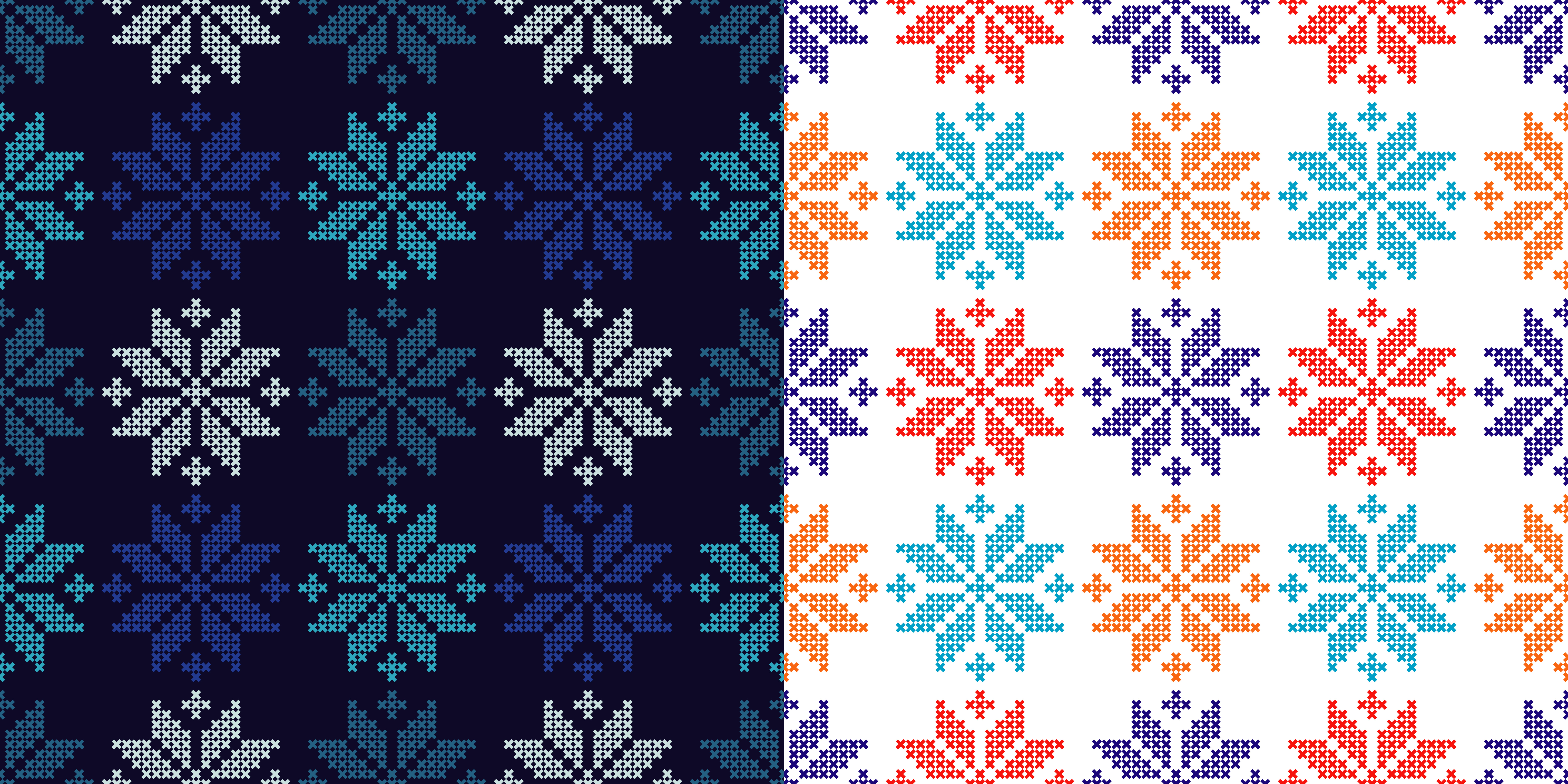 Set of 2 Seamless vector backgrounds cross stitch Norwegian snowflakes.  example image 1