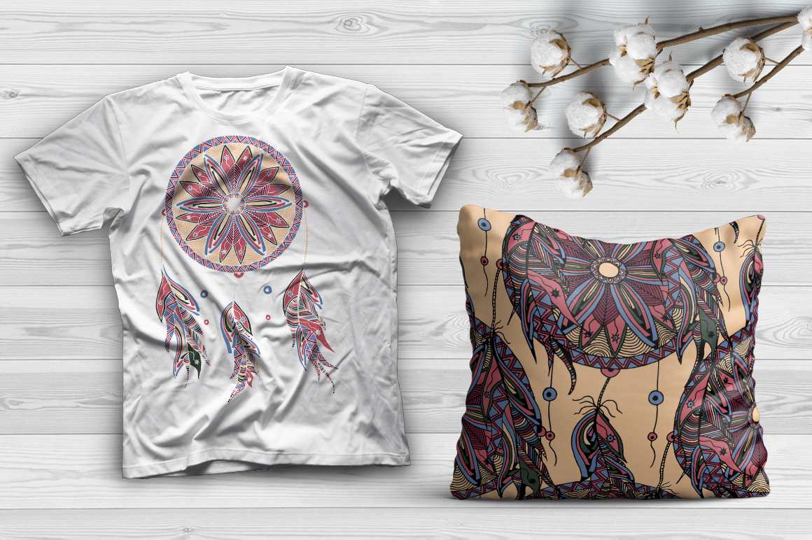Dreamcatcher illustration and pattern example image 2