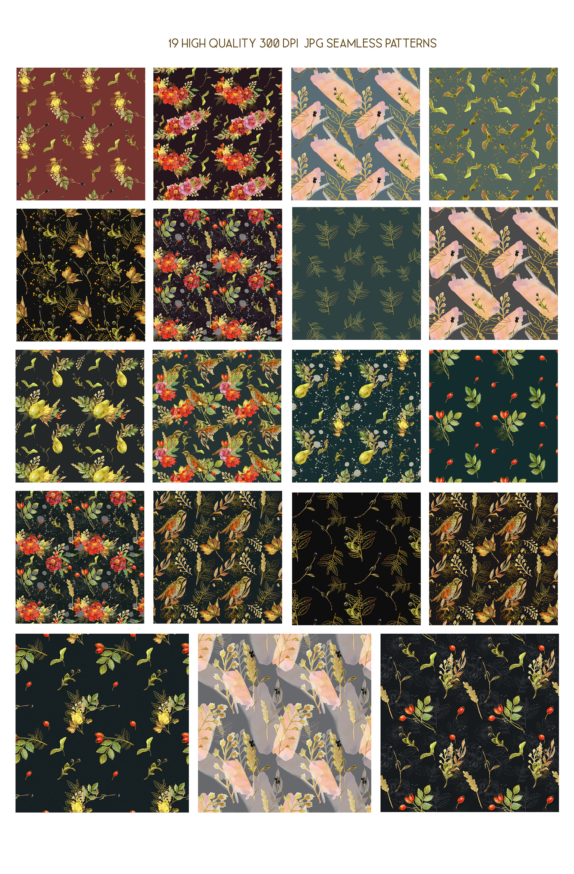 Royal Autumn watercolor seamless paper pack, fall pattern example image 2