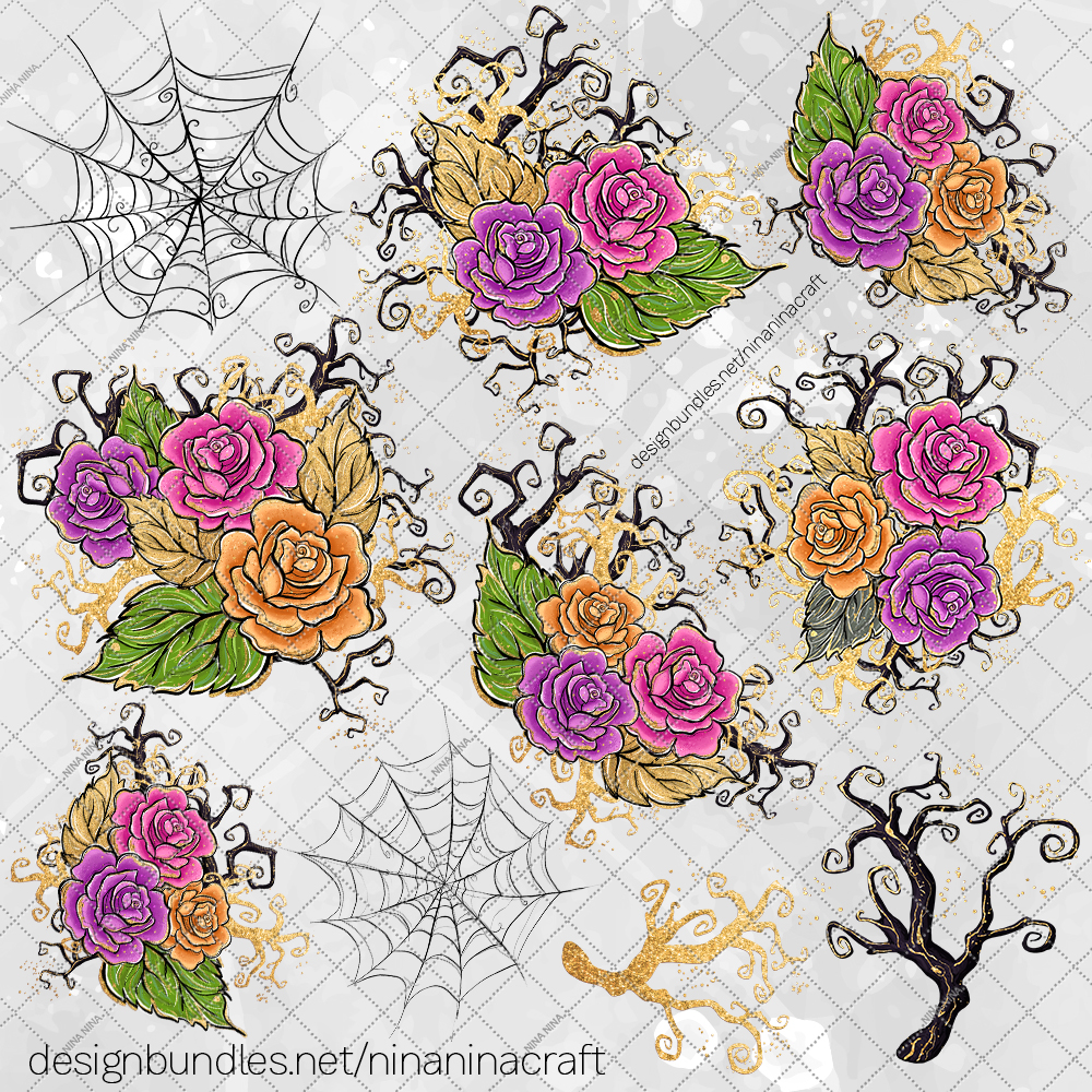 Halloween Flowers Clipart, Roses Clip Art, Stickers PNG Pack example image 3