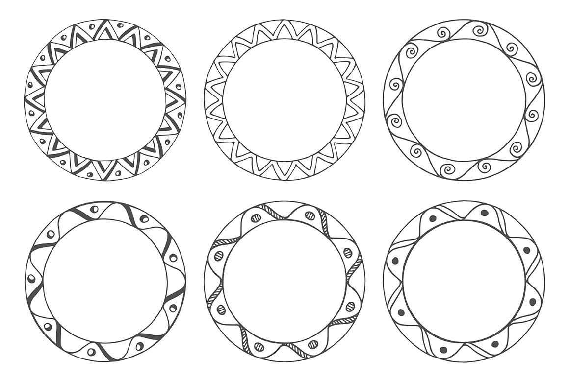 90 Hand Drawn Decorative Round Frames example image 15