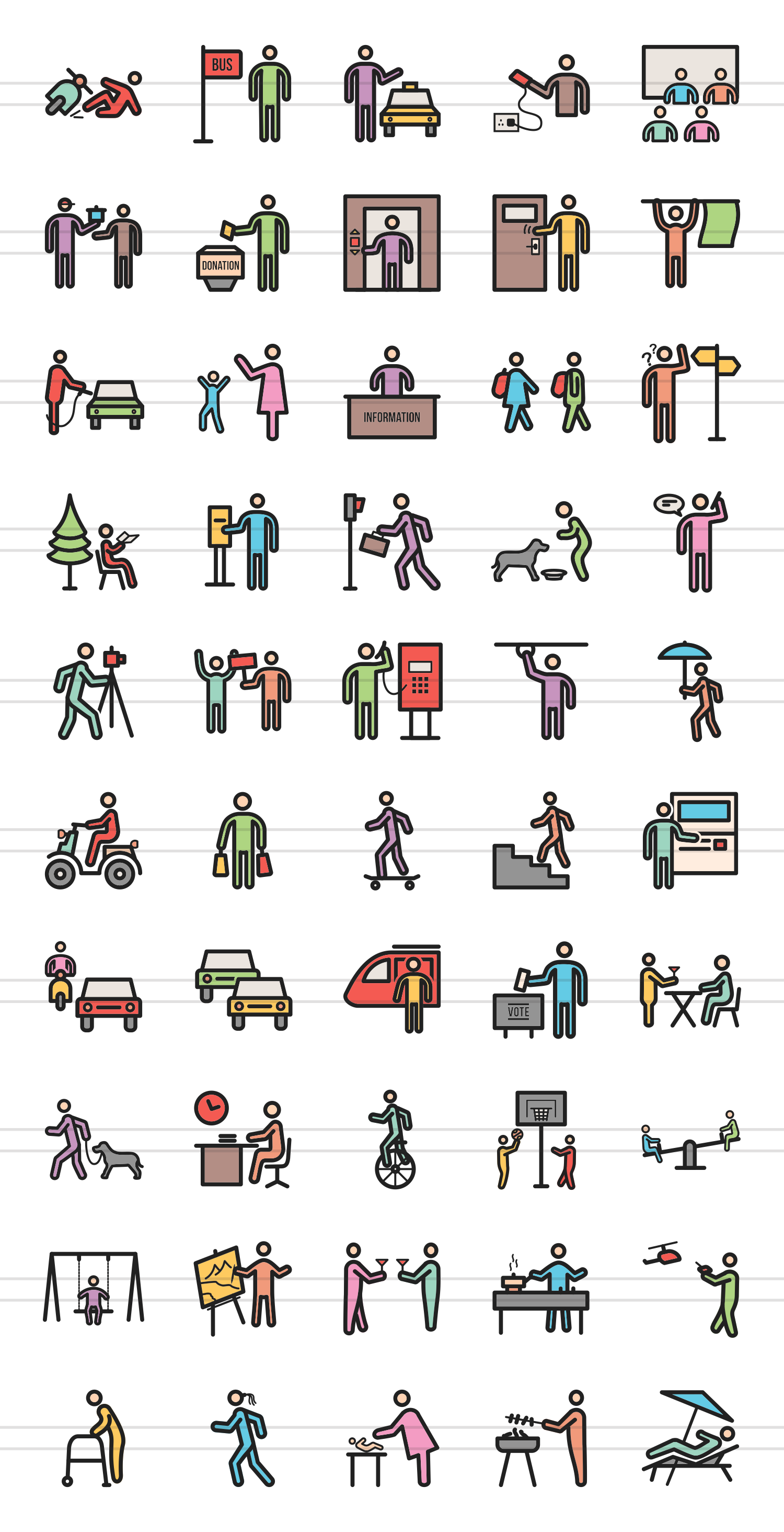 50 City Lifestyle Linear Multicolor Icons example image 2