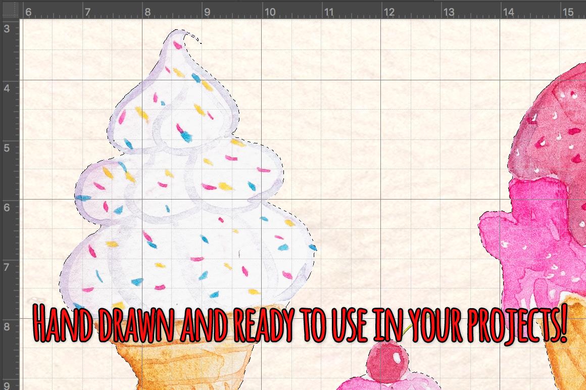 37 Icecreams Summer Watercolor Food Artwork example image 3