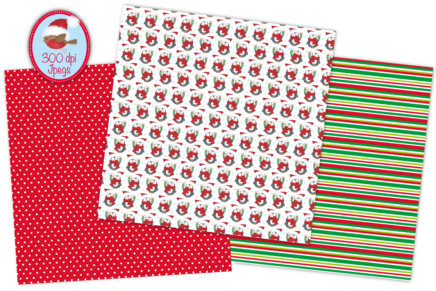 Christmas digital papers, Christmas patterns, Santa papers example image 3