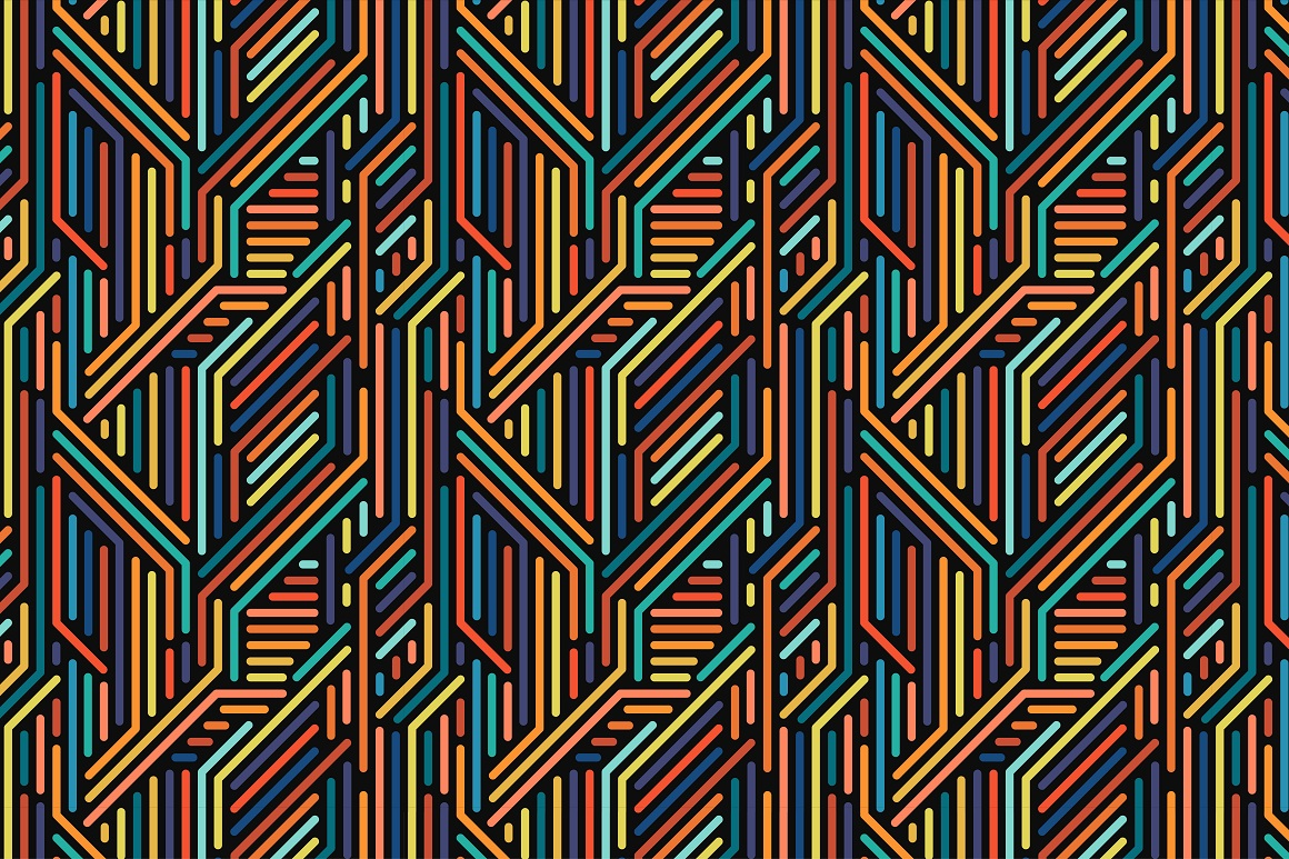 Colorful seamless striped patterns. example image 6