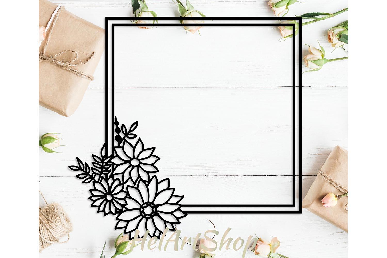 Floral square frame svg example image 1