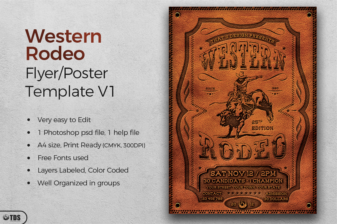 Western Rodeo Flyer Template V1 example image 2