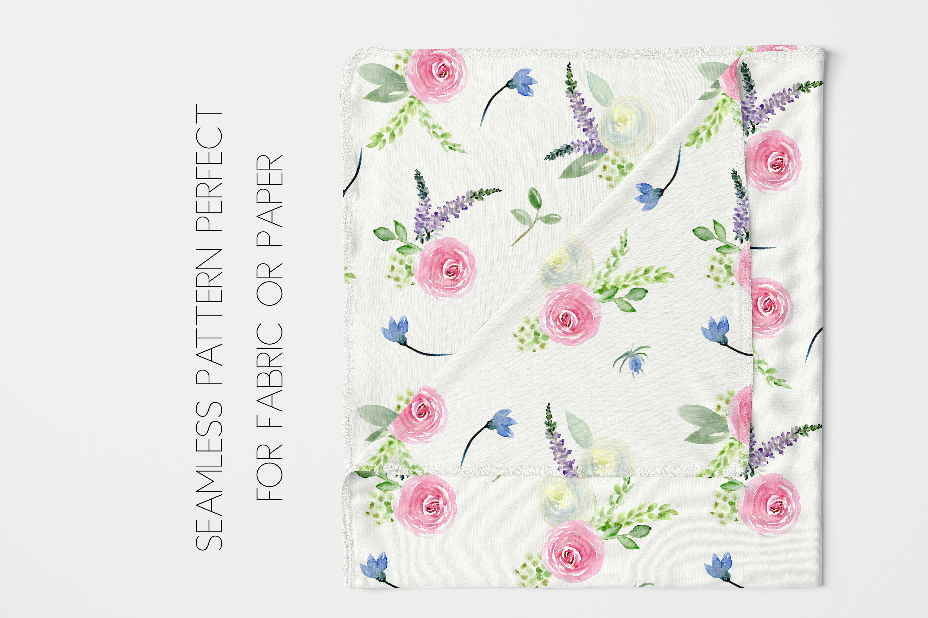 Watercolor Floral Bundle Pink, Purple Blue Flowers & Yellow example image 10