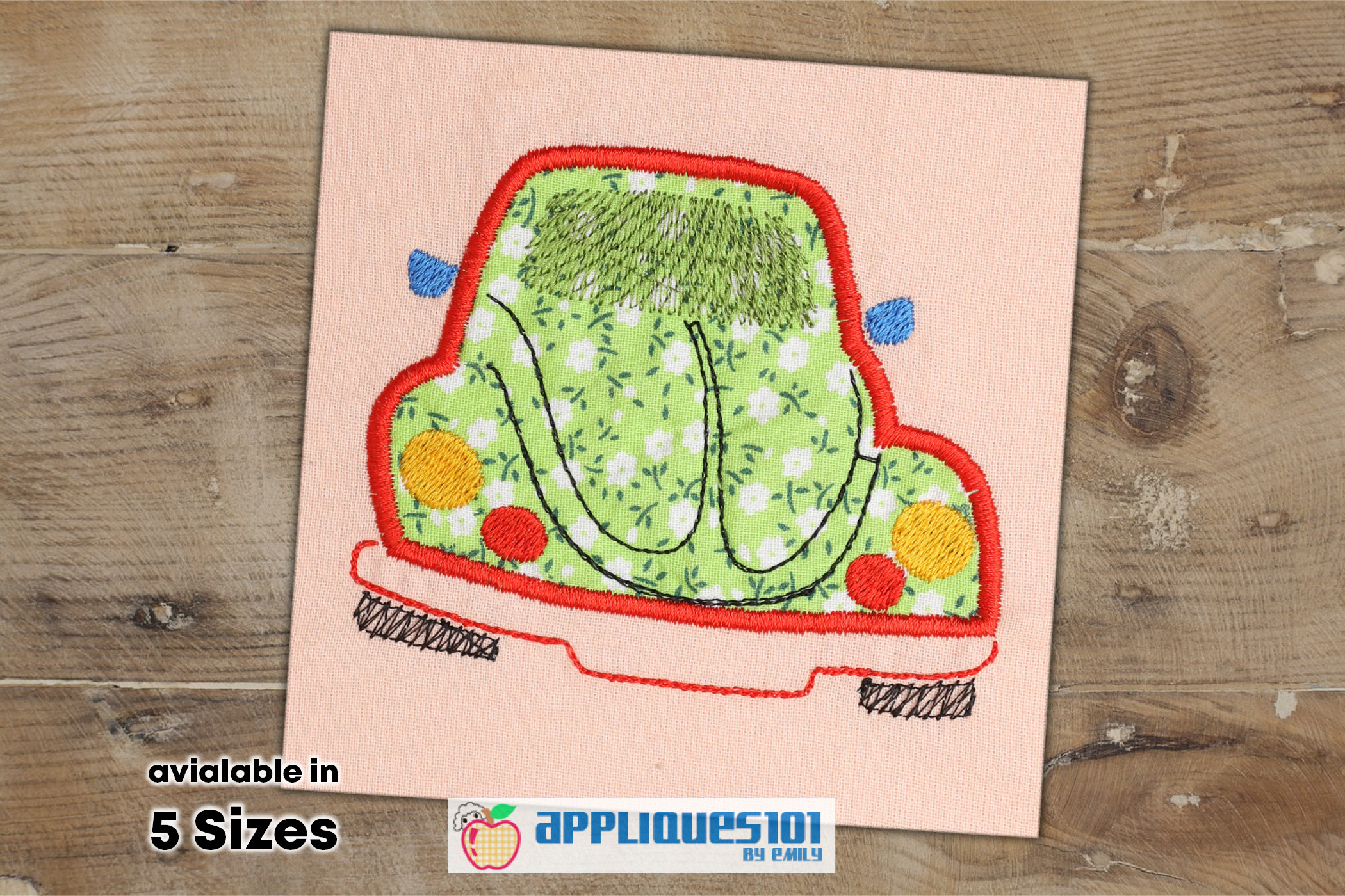 Beetle Toy Car Machine Embroidery Applique Design - Cars example image 1