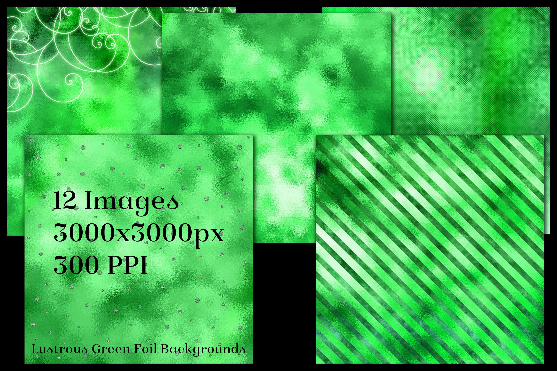 Lustrous Green Foil Backgrounds - 12 Image Textures Set example image 2