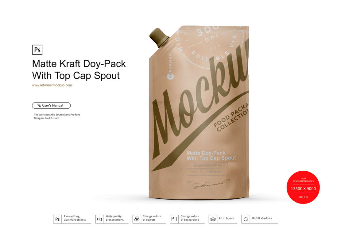 Kraft Doy-Pack With Top Cap Spout example image 1