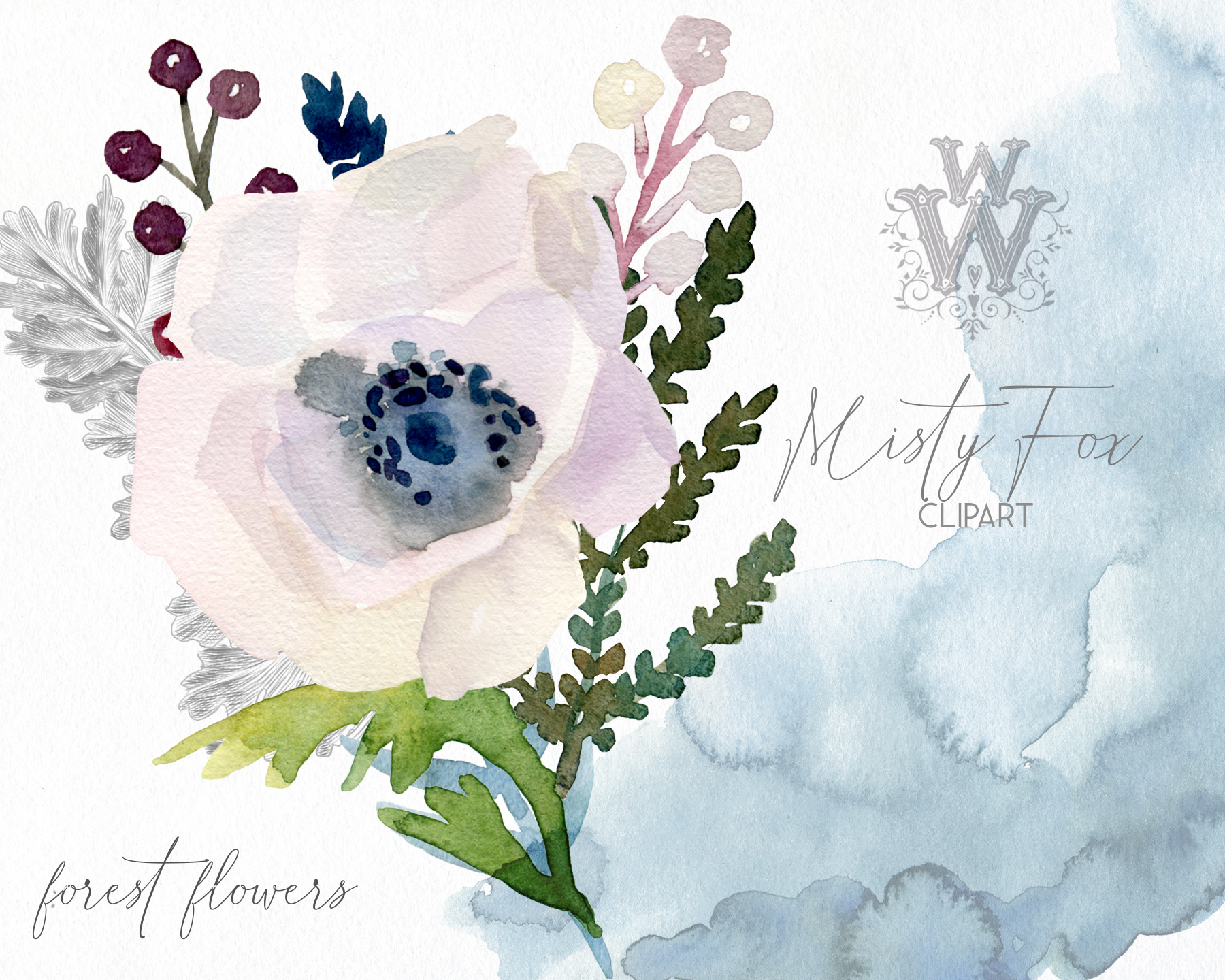 Watercolor forest flowers clipart, fox graphics wedding art example image 6