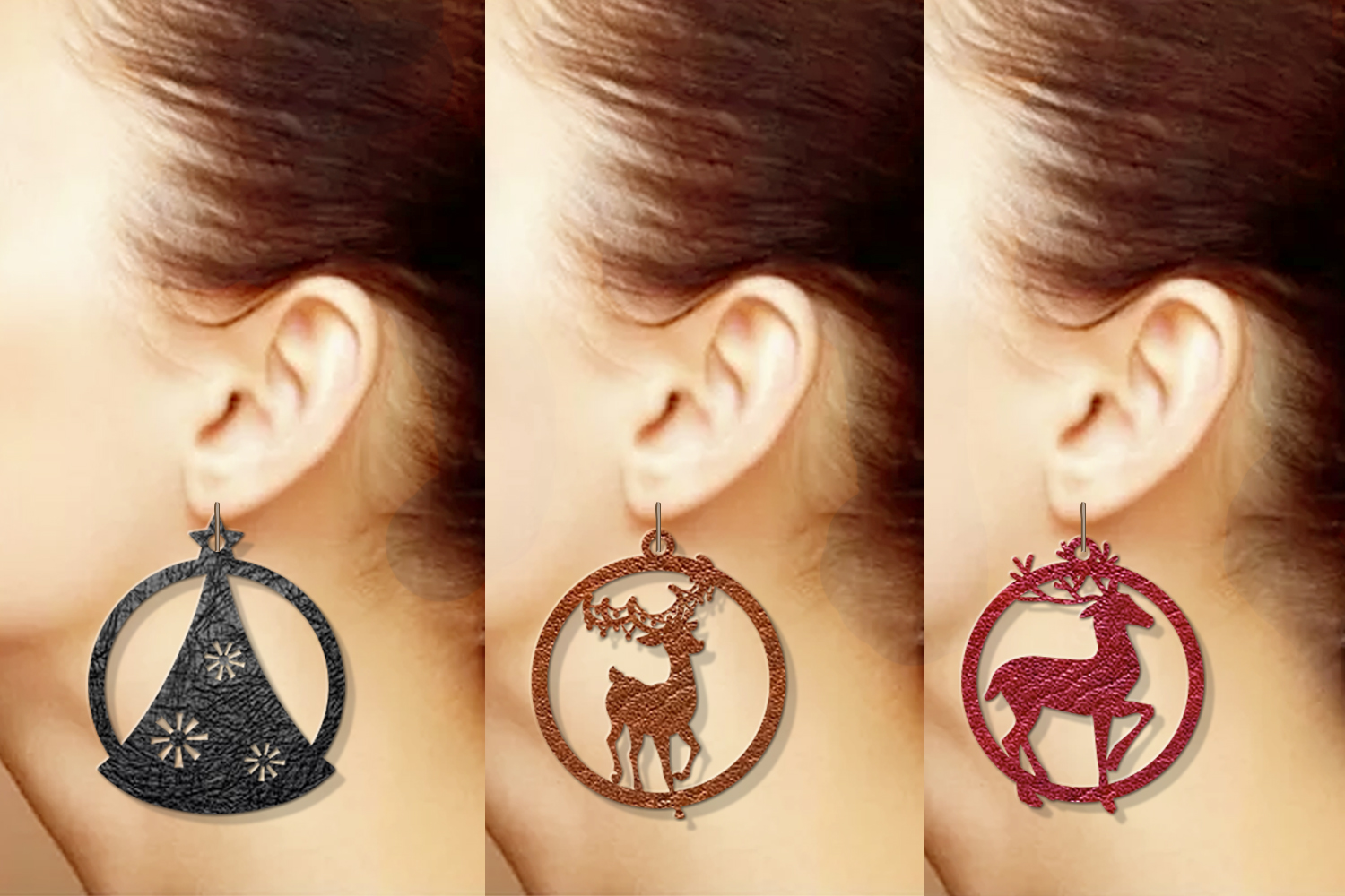 10 Christmas earrings svg Leather earrings svg Necklace svg example image 6