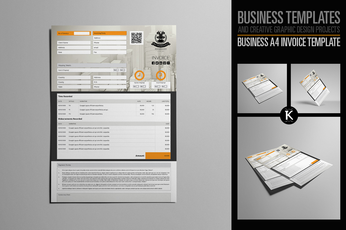 Business A4 Invoice Template example image 1