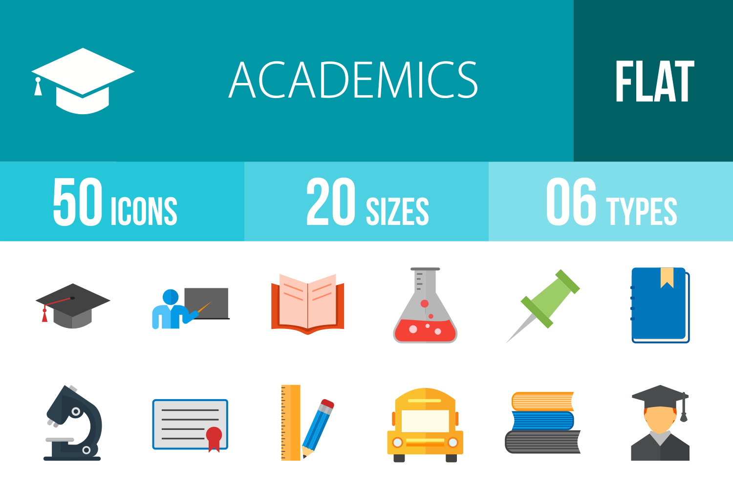 50 Academics Flat Multicolor Icons example image 1