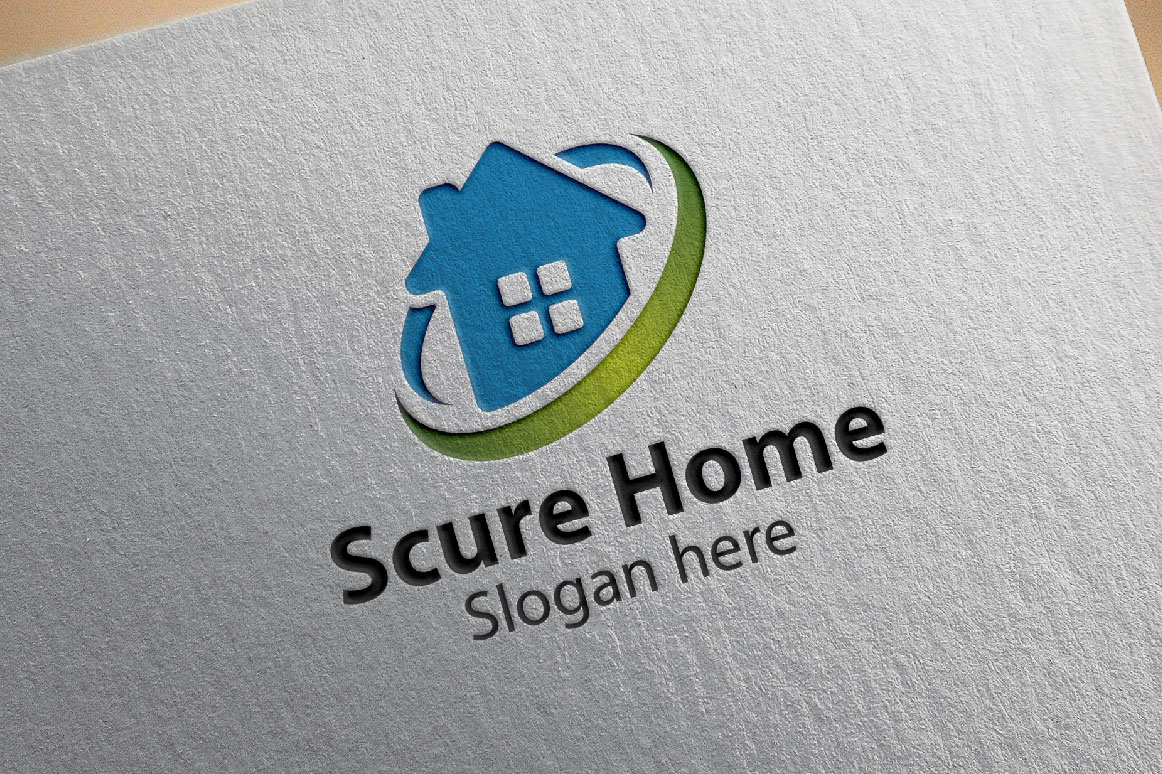 home logo, real estate logo, scure home logo, vector logo design example image 1