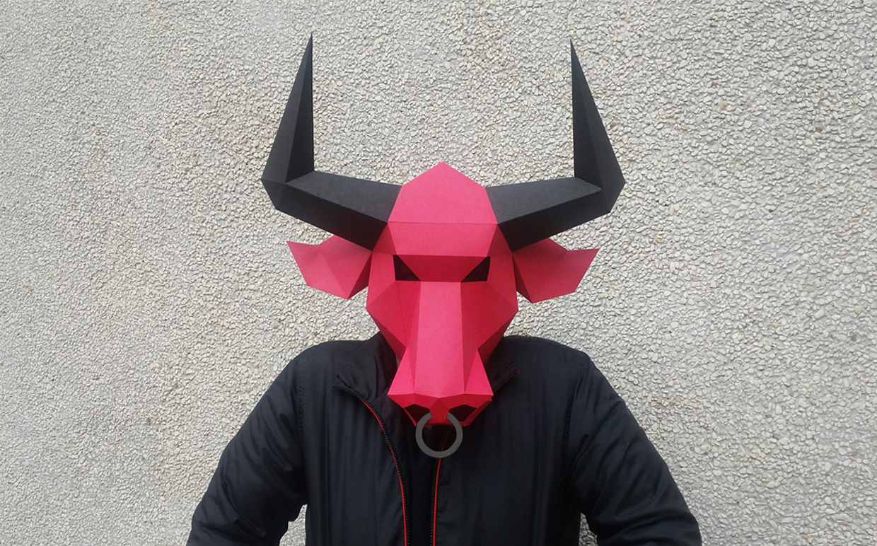 DIY Bull Mask - 3d papercraft example image 2