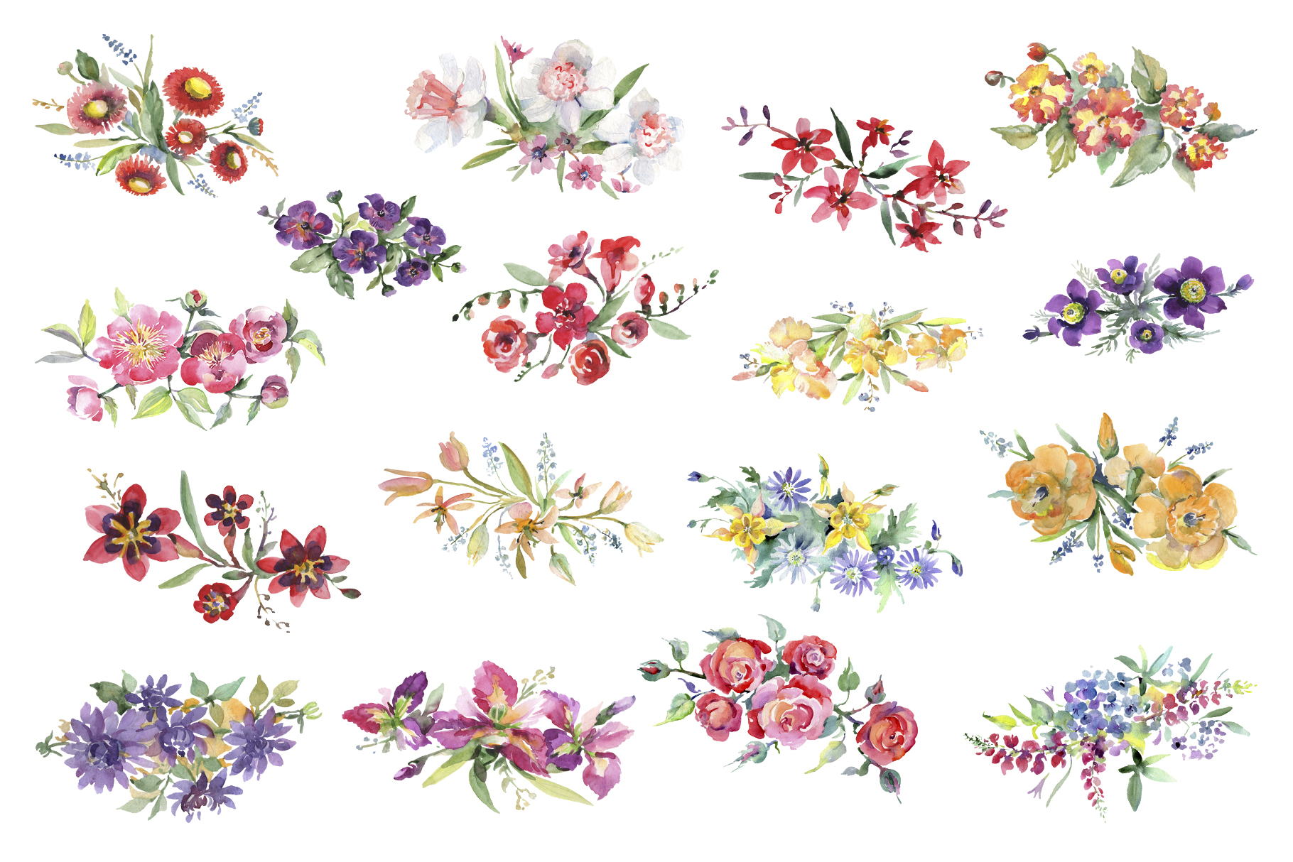 Bright bouquet of watercolor flowers png example image 3