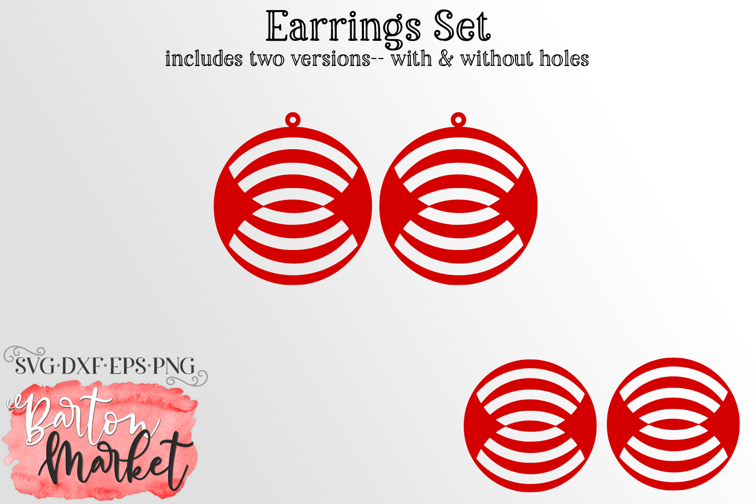 Earrings Set Circles With Reflected Inner Lines SVG DXF EPS example image 1