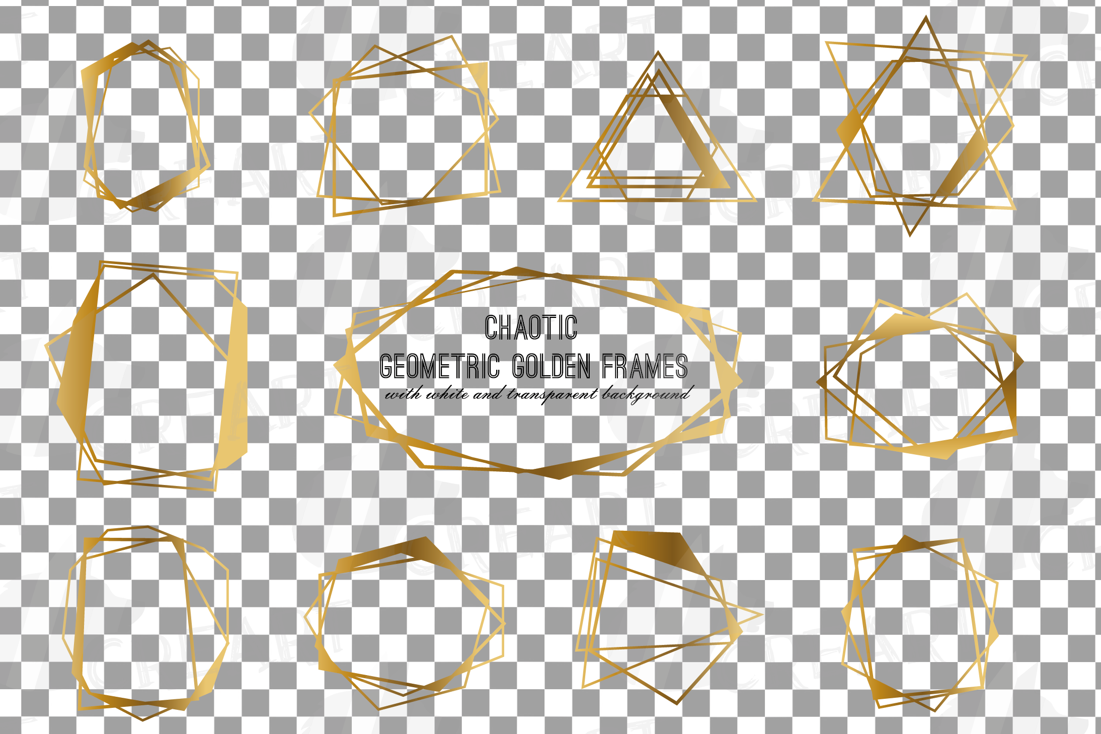 Chaotic geometric golden frames, lineal frames clip art example image 3